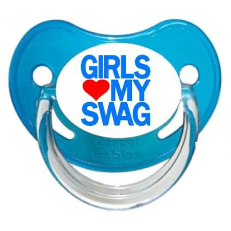 Sucette personnalisée Girls aime my swag