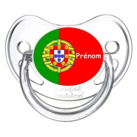 Sucette personnalisée drapeau Portugal et prénom