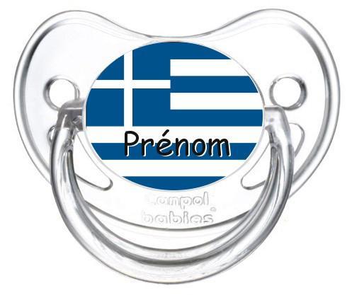 Sucette personnalisée drapeau Grèce et prénom