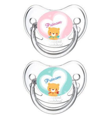 Lot de 2 Sucettes bébé personnalisée ours coeur et prénom