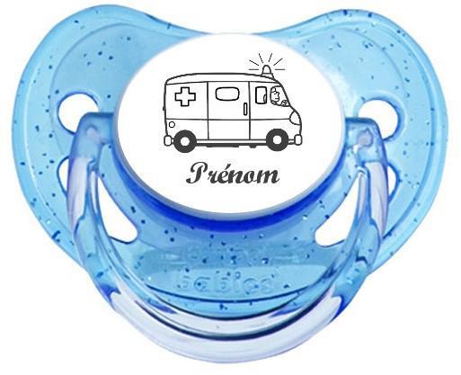 Sucette personnalisée ambulance prénom