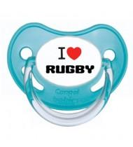 """Sucette bébé """"I love Rugby"""""""