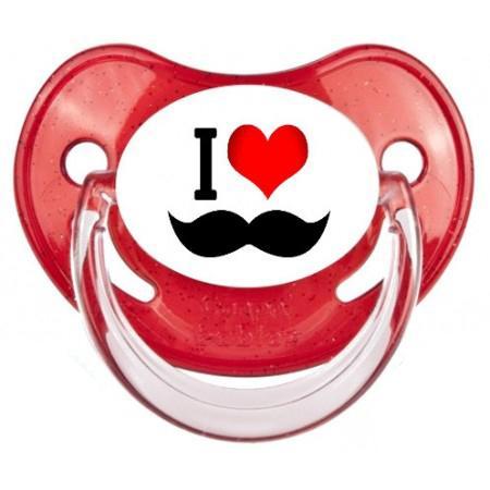 """Sucette bébé """"I love moustache"""""""