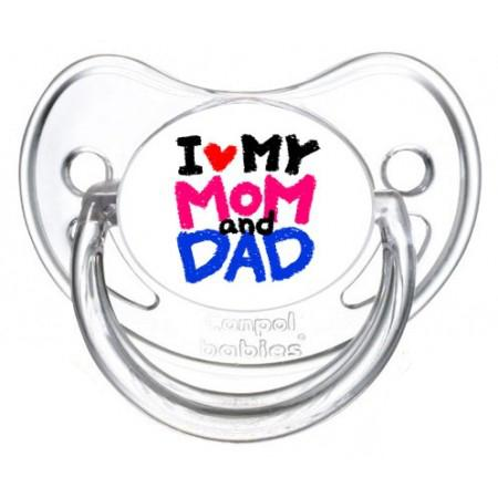 """Sucette bébé """"I love my mom and dad"""""""
