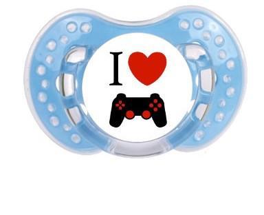 """Sucette bébé """"I love jeu video"""""""