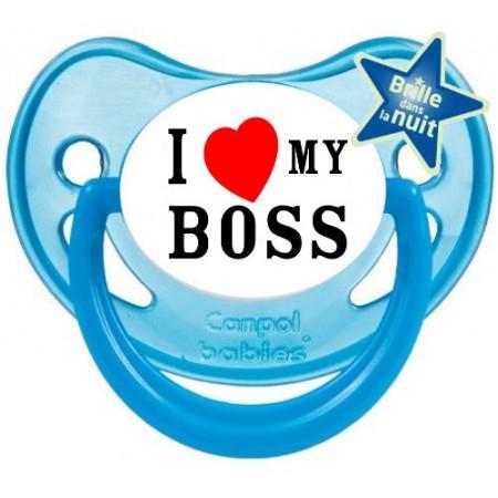 """Sucette bébé """"I love my boss"""""""