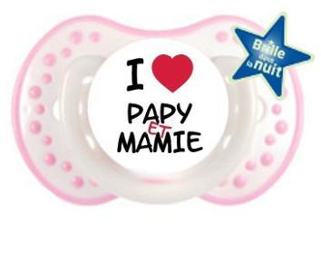 """Sucette bébé """"I love papy et mamie"""""""