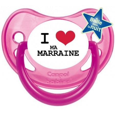 """Sucette bébé """"I love ma marraine"""""""