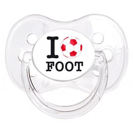"""Sucette personnalisée """"I love foot"""""""