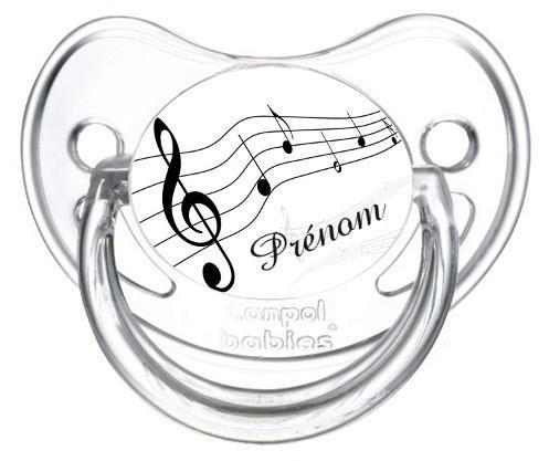 Sucette personnalisée musique et prénom