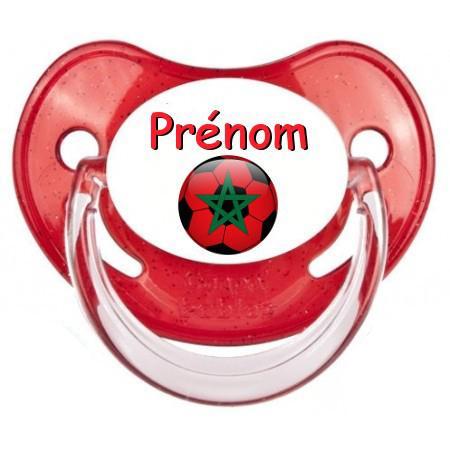 Sucette personnalisée Ballon foot Maroc et prénom