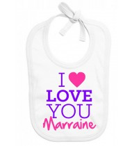 Bavoir bébé I love you marraine