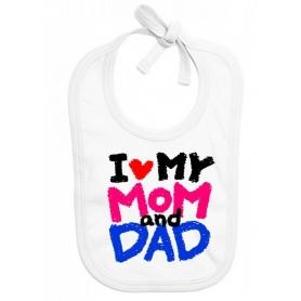 Bavoir bébé I love Mom and Dad