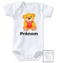 Body personnalisé ours coeur prénom