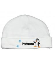 Bonnet personnalisé pingouin prénom