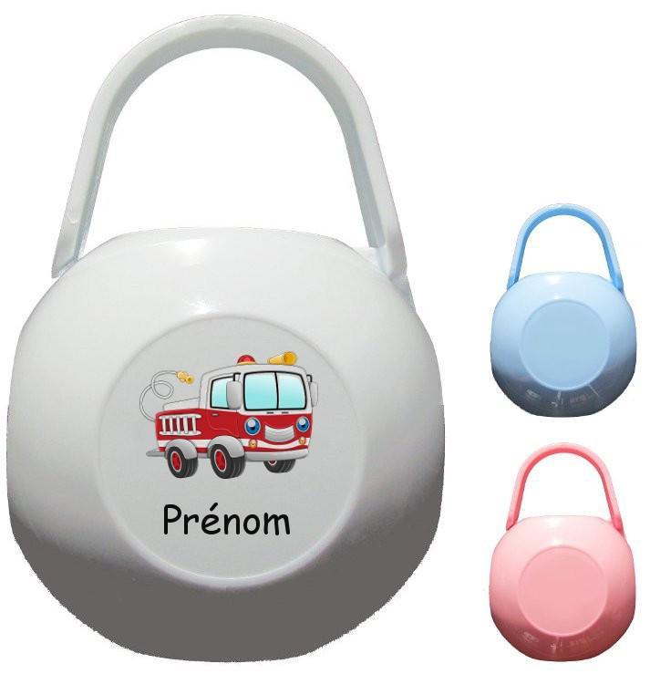 Boîte à Sucette personnalisée Camion pompier Prénom