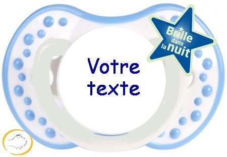 Sucette personnalisée night and day bleu ciel