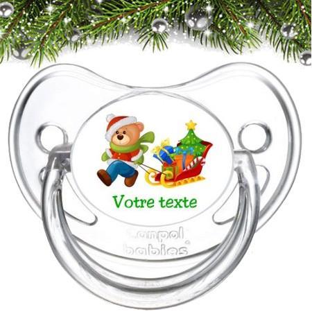 """Sucette bébé personnalisée """"Ours Noël traineau"""""""