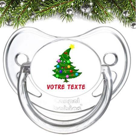 """Sucette bébé personnalisée """"Sapin Noël"""""""