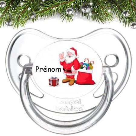 """Sucette bébé personnalisée """"Père Noël et cadeau"""""""