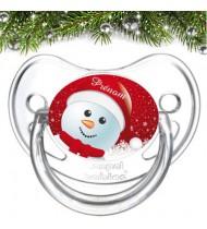 Sucette de bebe bonhomme de neige noël et prénom