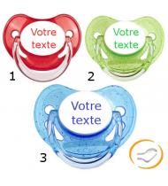 Lot de 3 Sucettes personnalisées à paillette rouge / verte / bleu (physiologique)