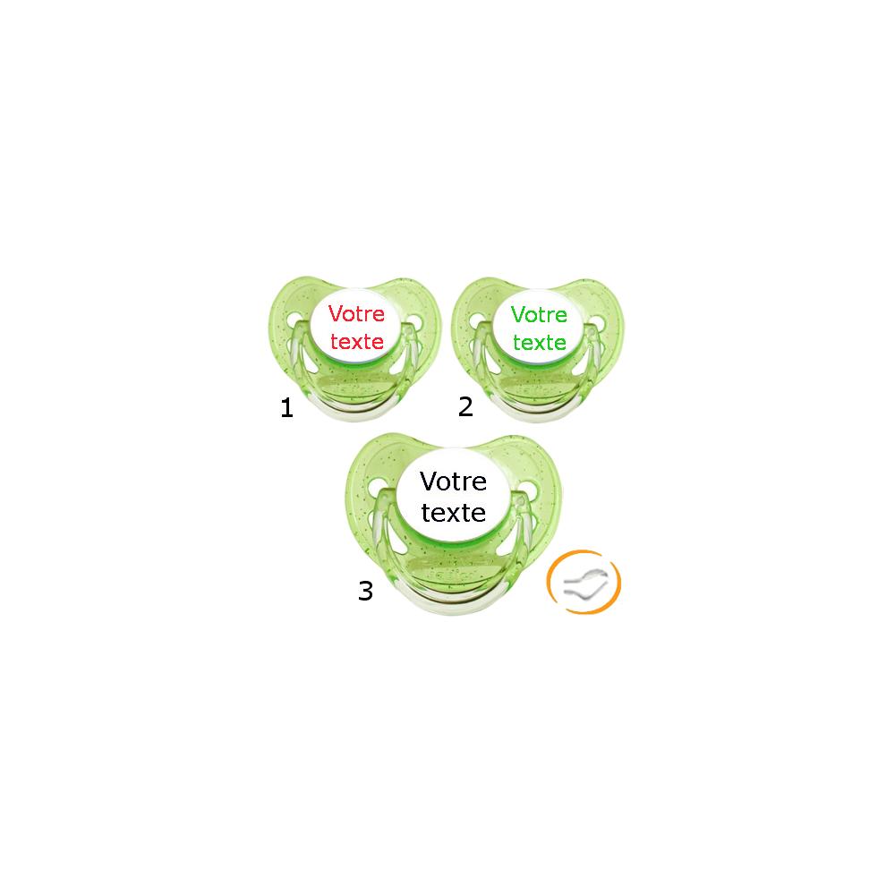 Lot de 3 Sucettes personnalisées à paillette verte (physiologique)