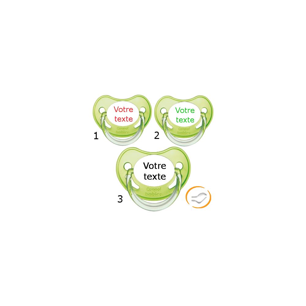Lot de 3 Sucettes personnalisées chupa verte (physiologique)