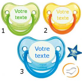 Lot de 3 Sucettes personnalisées fluo verte / jaune / bleu (physiologique)