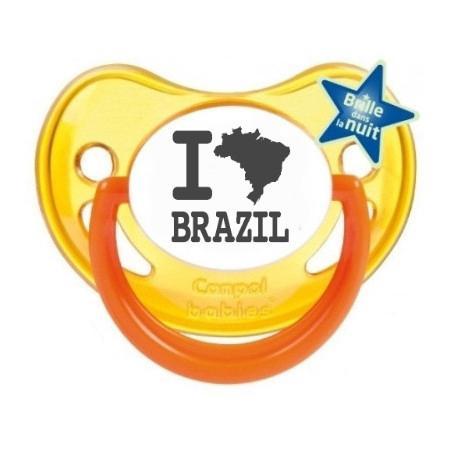 """Sucette bébé originale """"I love Brazil"""""""