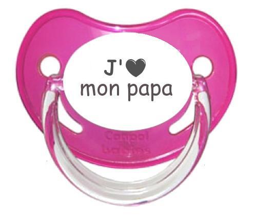 Sucette coeur J'aime mon papa
