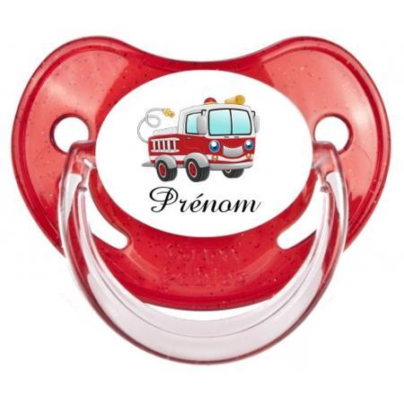"""Sucette personnalisée """"Prénom Camion Pompier"""""""