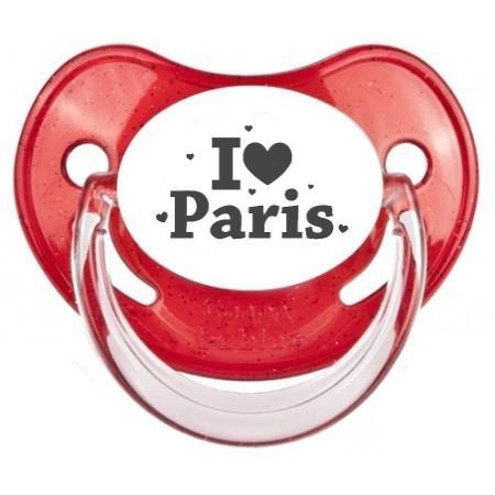 Sucette bébé I love Paris coeurs