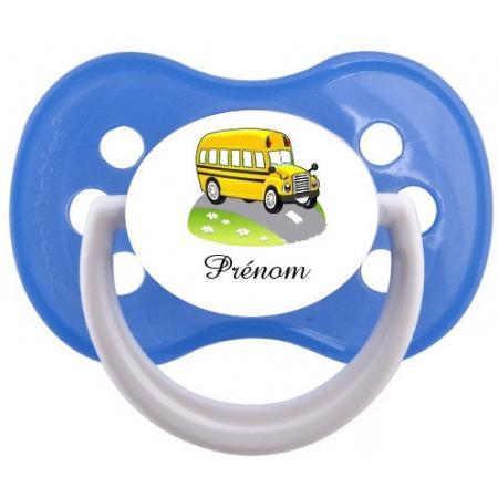"""Sucette personnalisée """"Prénom Bus jaune"""""""
