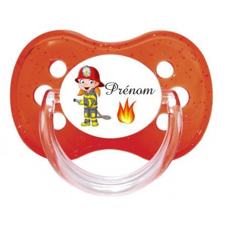 """Sucette personnalisée """"Prénom Pompier flamme"""""""