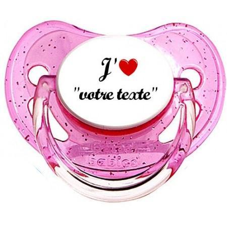 """Sucette personnalisée """"J'aime coeur"""""""