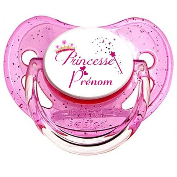 Sucette personnalisée princesse et prénom