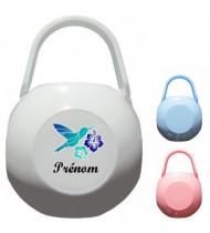Boîte à Sucette personnalisée Oiseau bleu Prénom