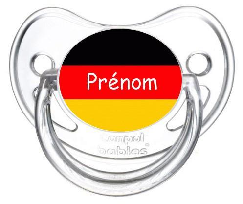 Sucette personnalisée drapeau Allemagne et prénom
