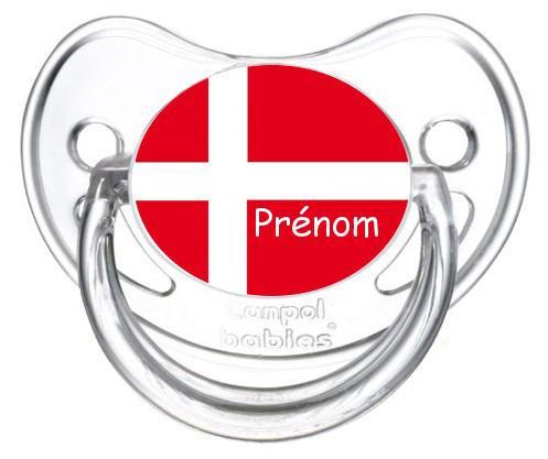 Sucette personnalisée Danemark et prénom