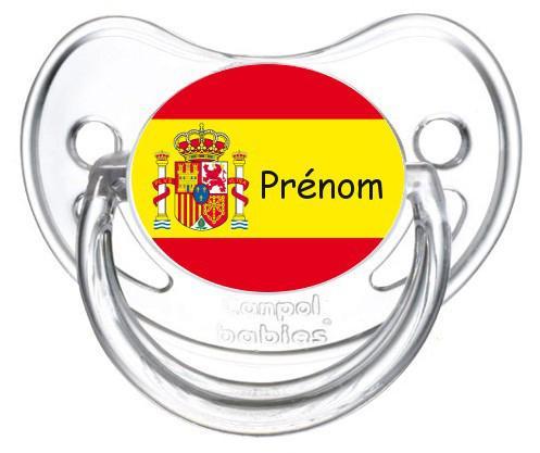 Sucette personnalisée drapeau Espagne et prénom