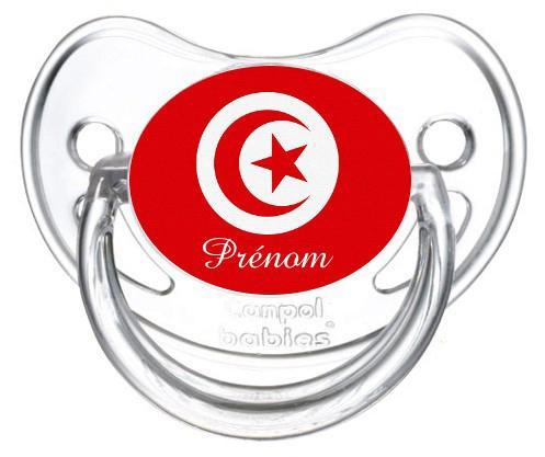 Sucette personnalisée drapeau Tunisie et prénom