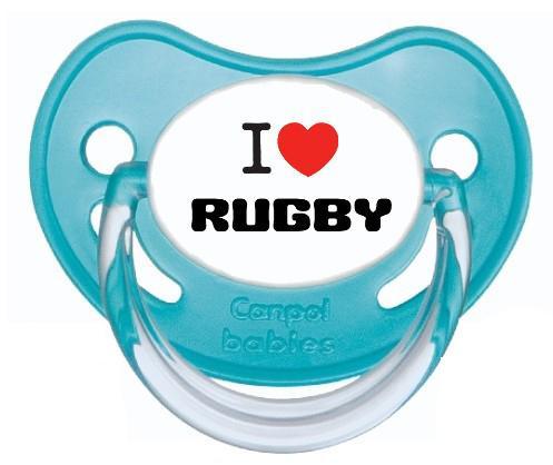 """Sucette personnalisée """"J'aime le rugby"""""""