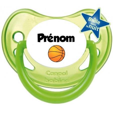 """Sucette personnalisée """"Prénom Ballon Basket"""""""