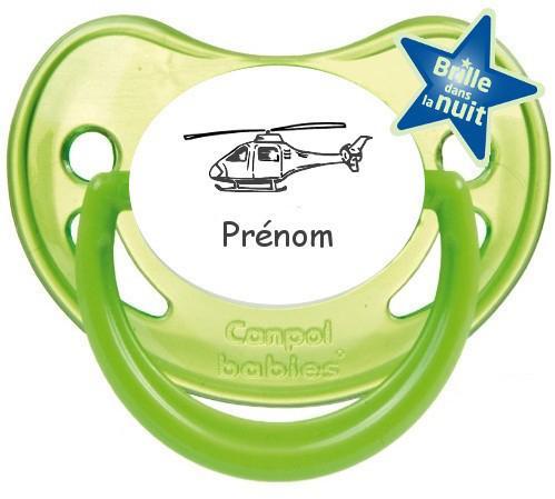 Sucette personnalisée hélicoptère prénom