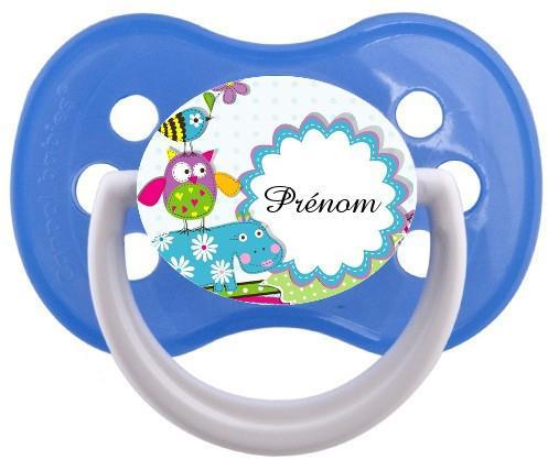 Sucette personnalisée hippopotame bleu et prénom
