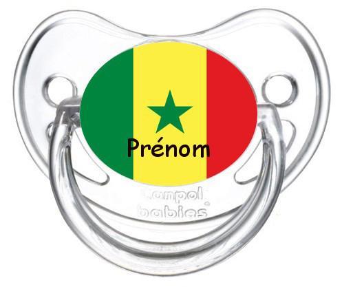 Sucette personnalisée drapeau Senegal et prénom