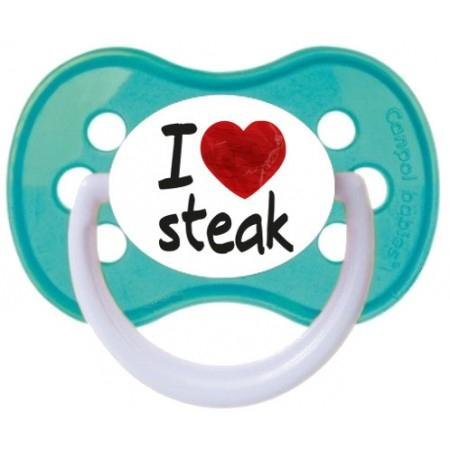 "Sucette bébé ""I love steak"""