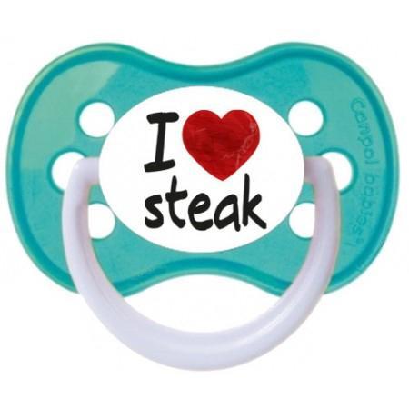 """Sucette bébé """"I love steak"""""""