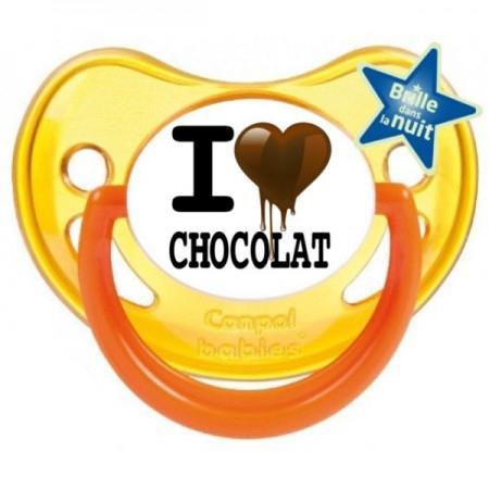 """Sucette bébé """"I love chocolat"""""""